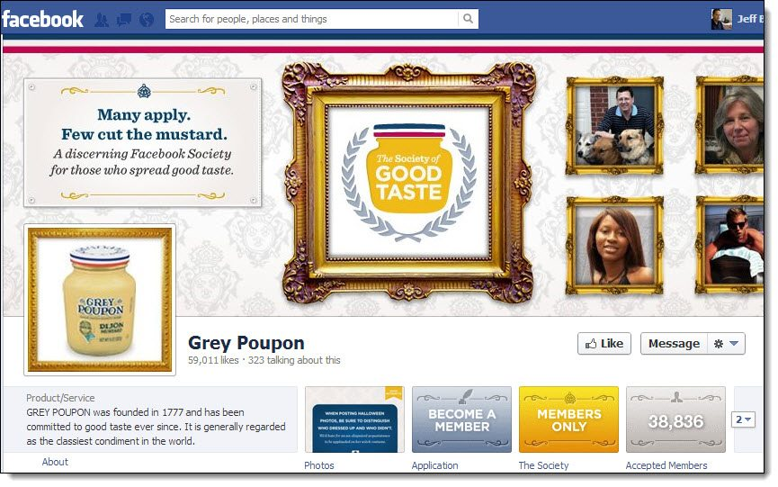 Grey Poupon Facebook page