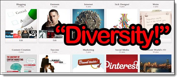 Create more diverse boards on Pinterest