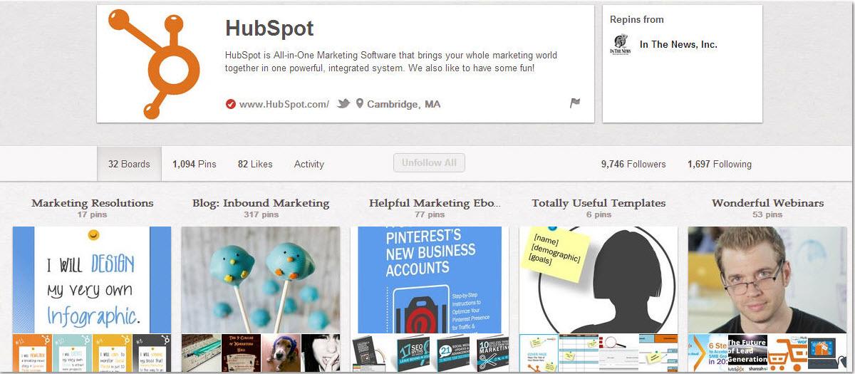 Hubspot Pinterest Page