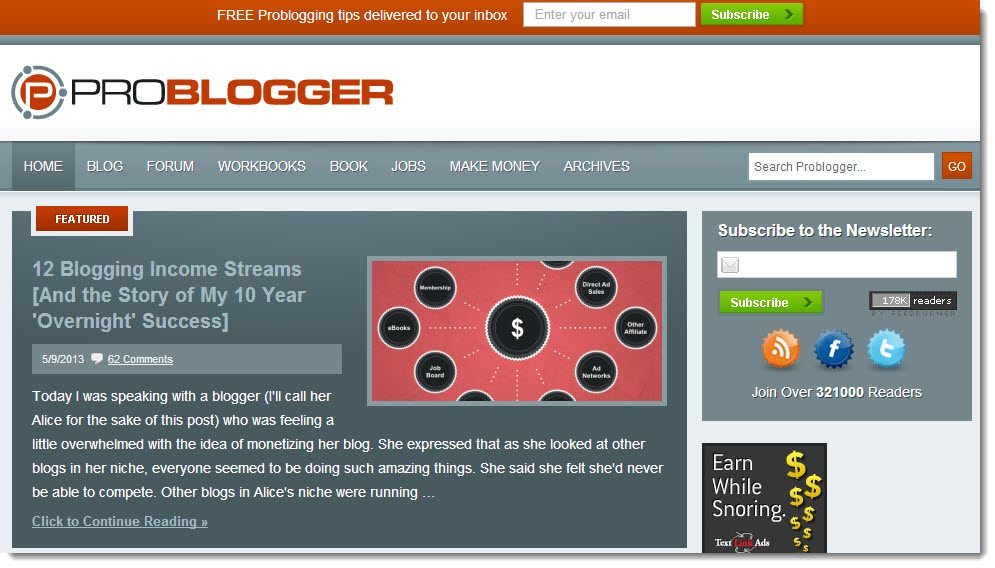 Darren Rowse Problogger ebooks case study making money from your blog