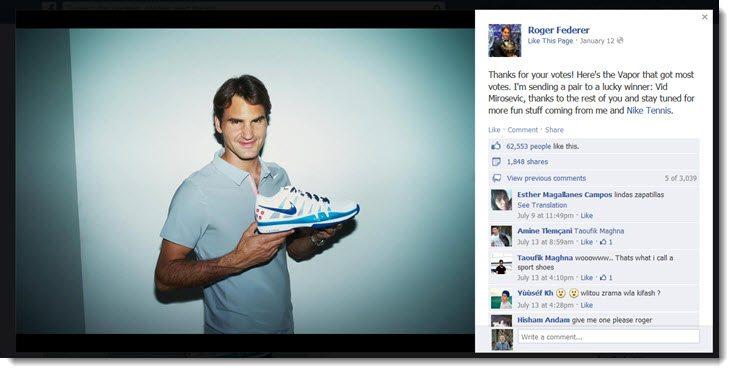 Roger Federer Facebook