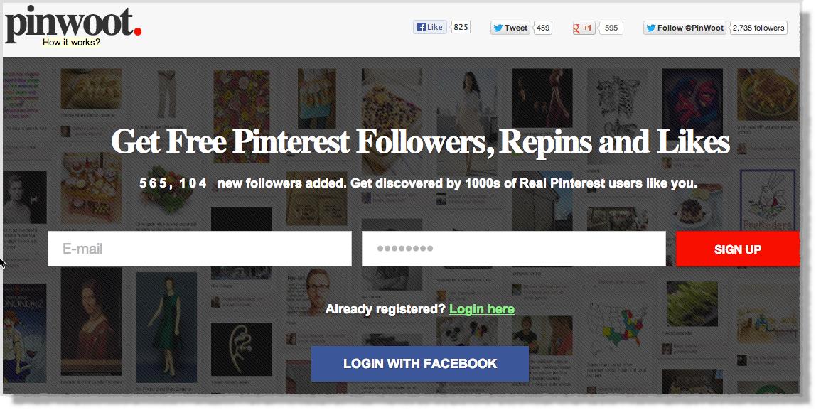 Pinterest tool Pinwoot