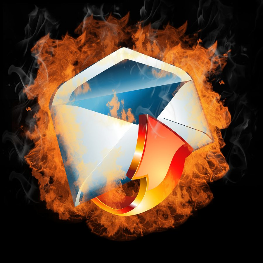 3D Colorful hot Burining email with real Flames