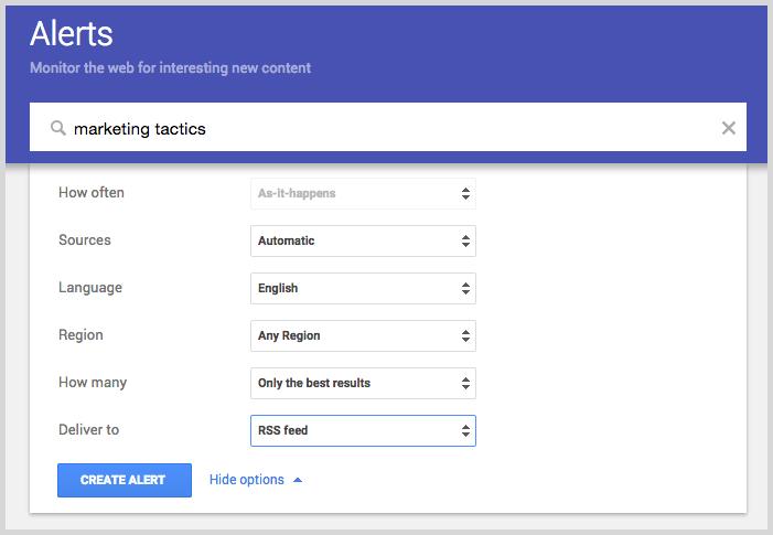 Google alerts for blog post ideas