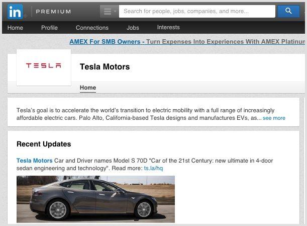 Tesla LinkedIn Company Page
