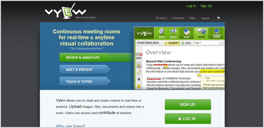 Vyew meeting tool screenshot