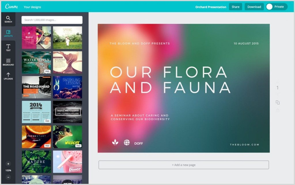 Canva screenshot for social media content