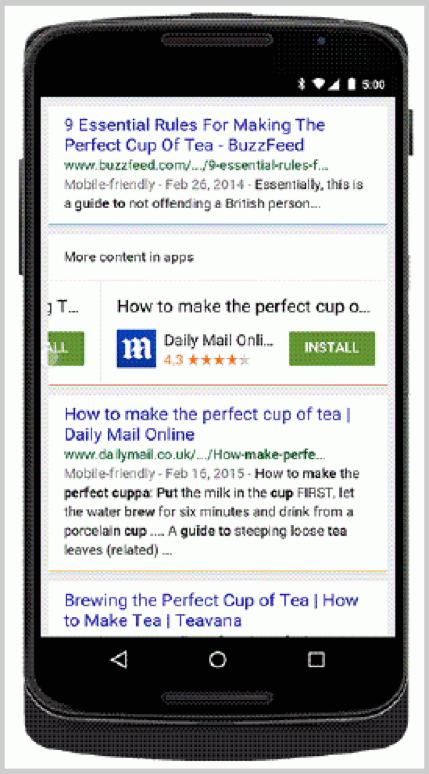 Ejemplos de apps apareciendo en la etiqueta de búsqueda