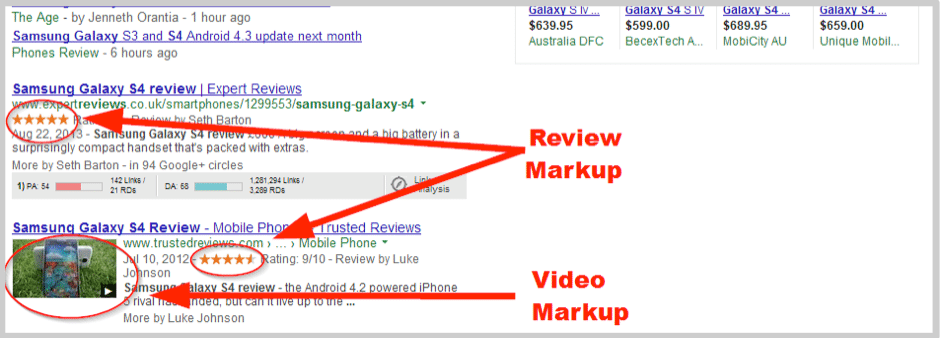 Google reviews in search