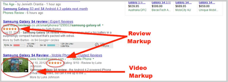 Google reviews en la búsqueda.