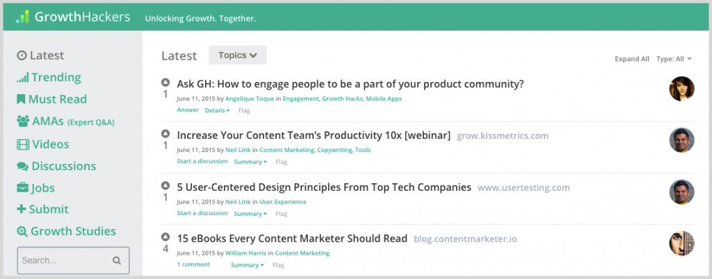Growth Hackers for social media content