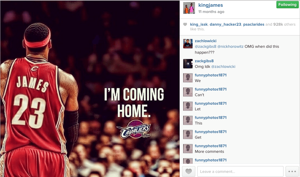 Lebron James most popular instagram post
