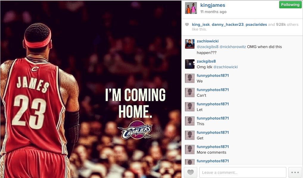 Lebron James most popular instagram post