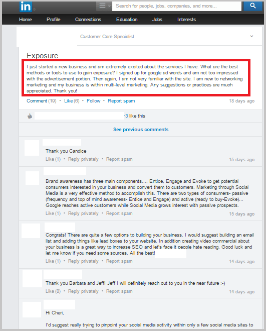 Linkedin discussions for blog post ideas