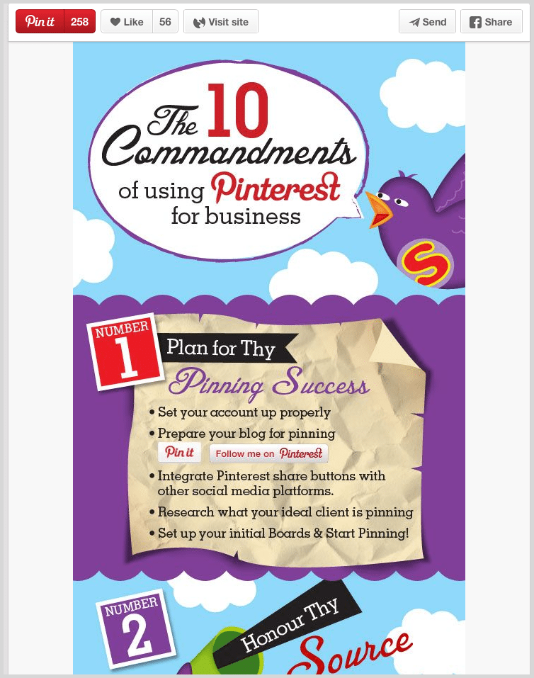 Pinterest example of a re-pin screenshot