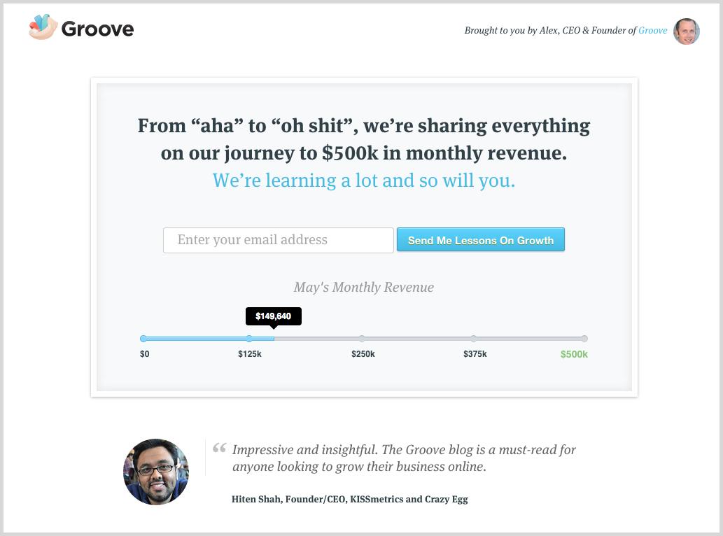 Social proof screenshot example Groove HQ - Jeffbullas's Blog