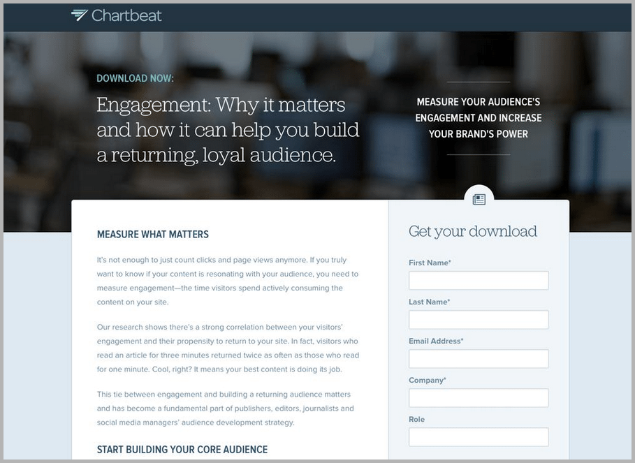 Chartbeat web design example
