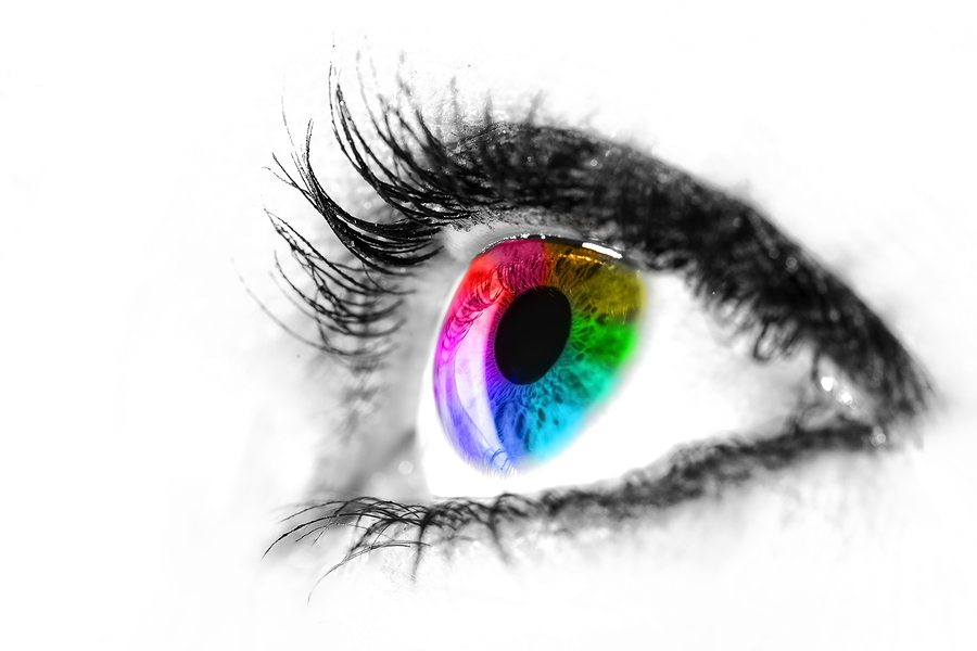 Eye Macro In High Key Black And White With Colourful Rainbow In - web design example