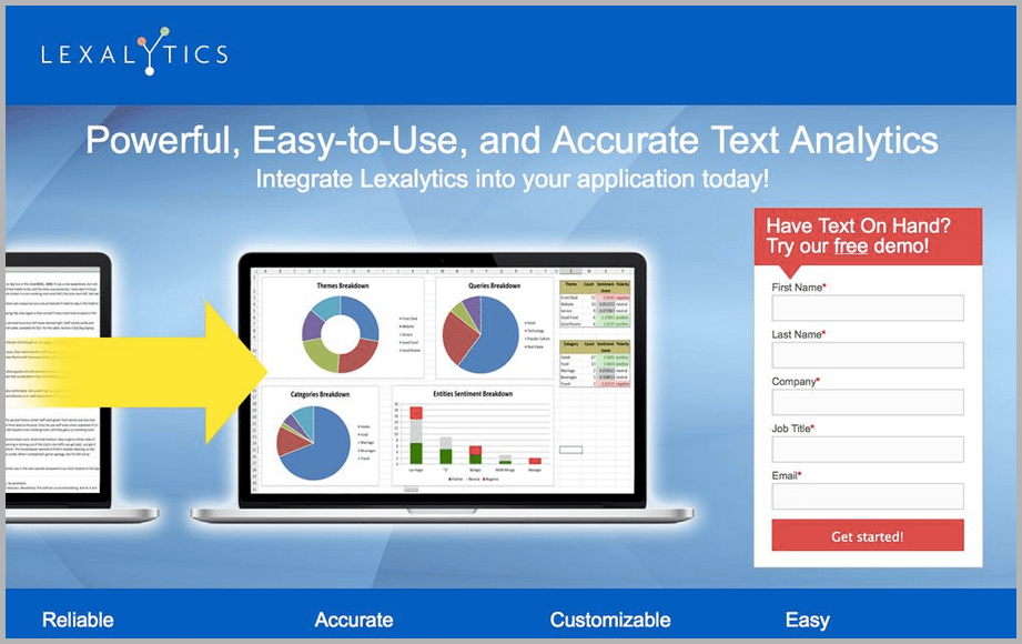 Lexalytics web design example