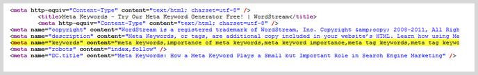 Meta Keywords screenshot