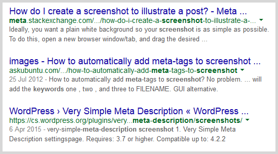 Meta descriptions in search example