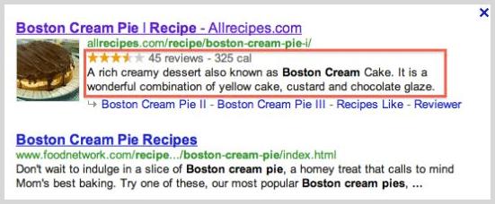Microdata screenshot example in search