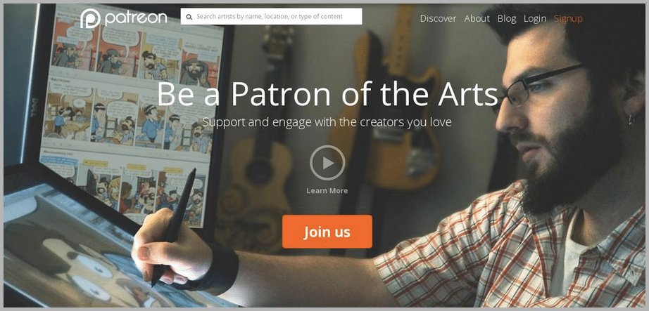 Patreon web desgin