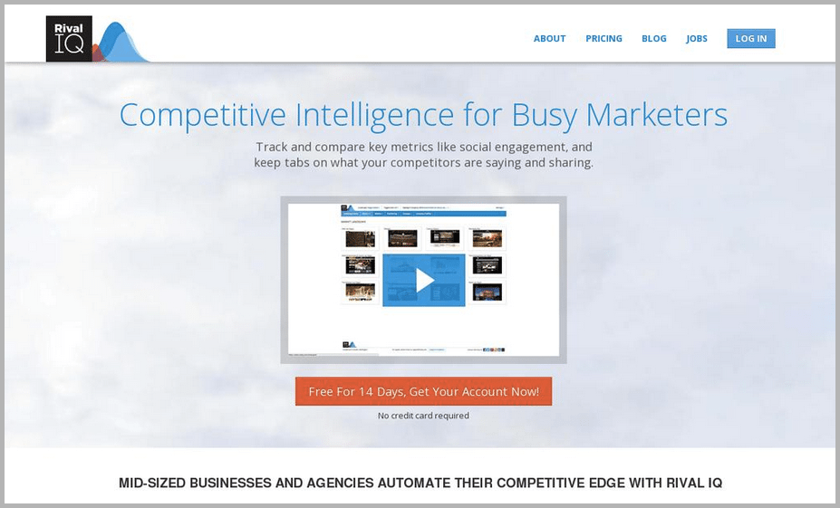 Rival IQ web design example