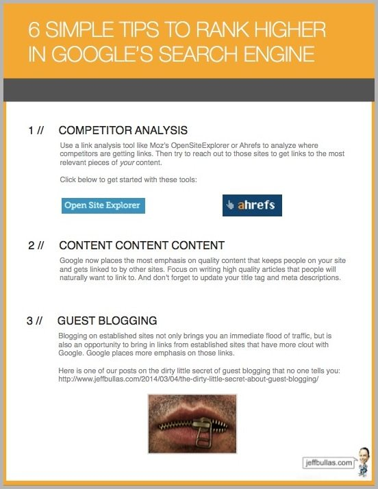 SEO tips - email conversions from content upgrades example