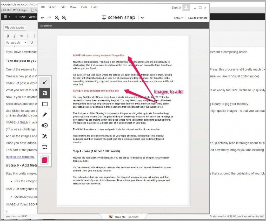 Skitch image editor for the writing process