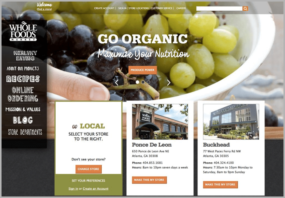 Whole Foods web design examples
