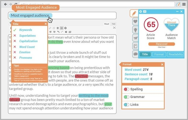 AtomicWriter - example of writing tools for content marketing