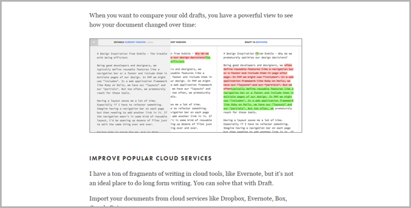 Draft - example of writing tools for content marketing