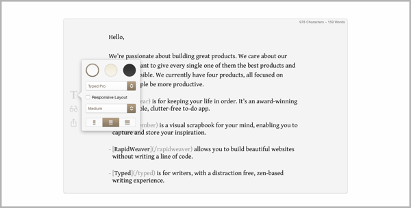 Typed - example of writing tools for content marketing