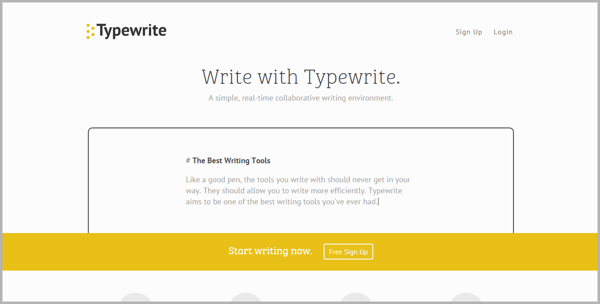 Typewrite- example of writing tools for content marketing