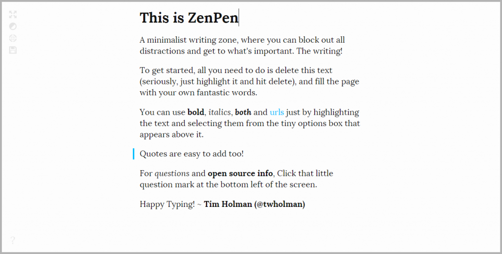 ZenPen - example of writing tools for content marketing