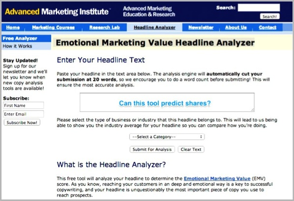 Advanced marketing institute headline analyzer - interactive content