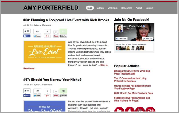 Amy Porterfield - Top 50 Marketing Blogs