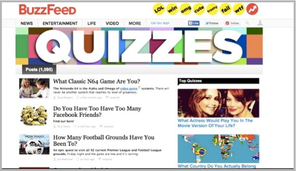 BuzzFeed example for interactive content