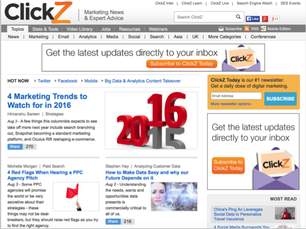 ClickZ - Top 50 Marketing Blogs