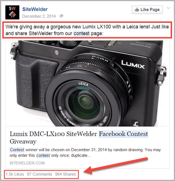 Facebook contest example for social media hacks