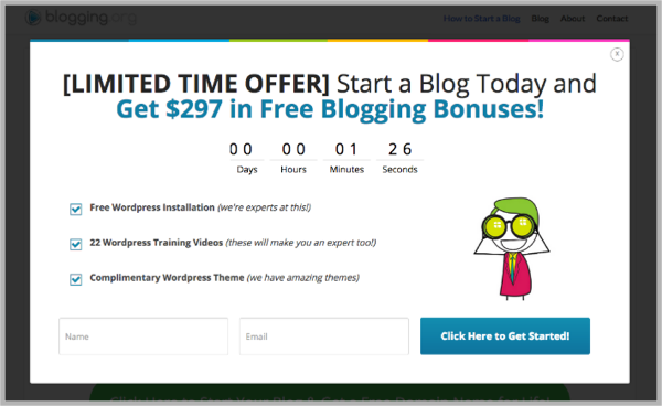 How to start a blog example - popup calls-to-action
