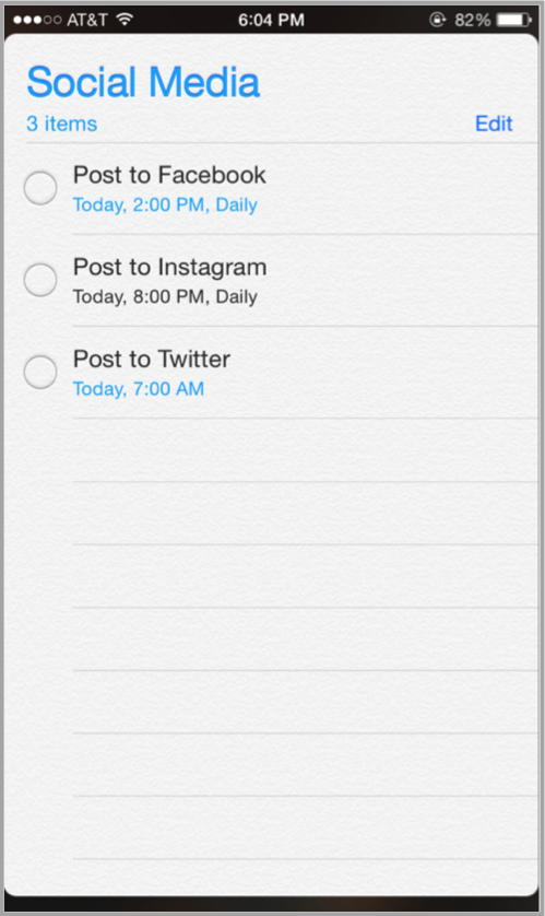 Template example on iPhone for launch your app on social media