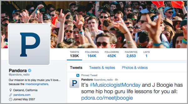Twitter Pandora example - launch your app on social media
