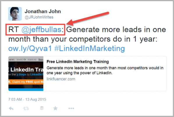 Twitter retweet example for social media hacks