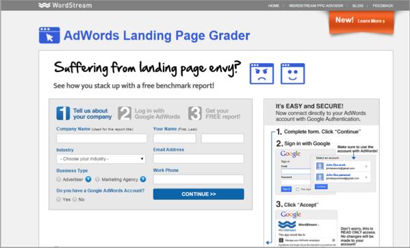 WordStream - landing page