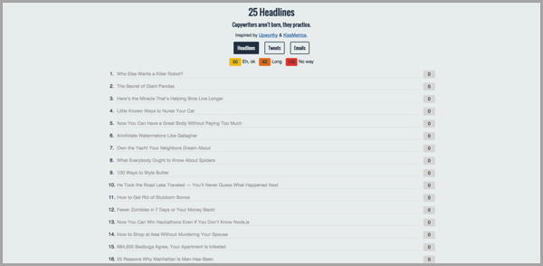 25 headlines blog writing tool