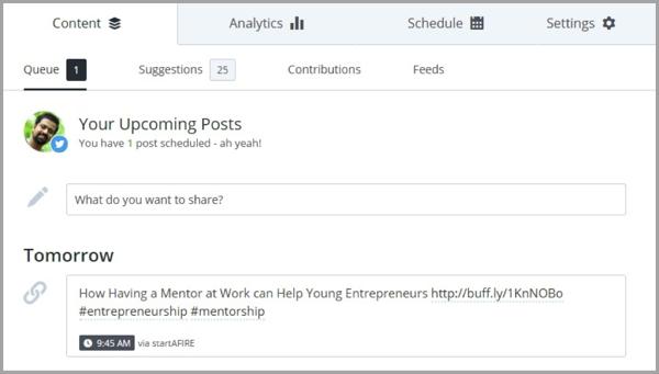 Buffer - example of social media tool
