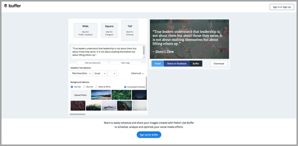 Pablo by Buffer blog writing tool