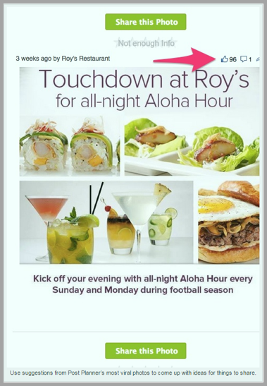 Roy's restaurant social media content example